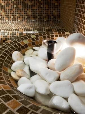 Turkish steam bath detail with stones